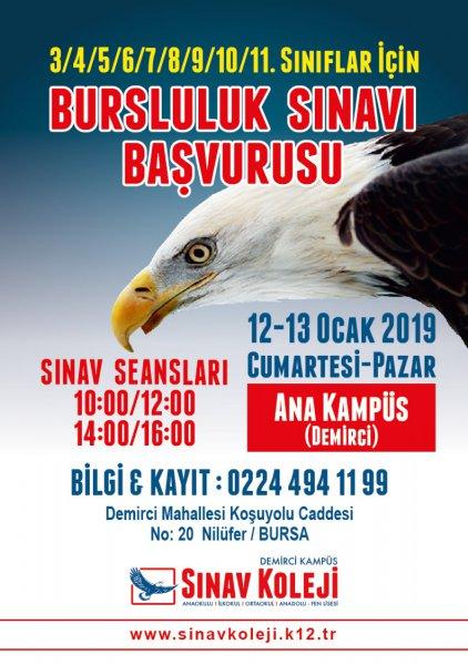 BURSLULUK SINAVI BAŞVURUSU 12-13 OCAK 2019